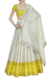 Embroidered lehenga set with dupatta.