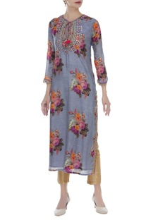 Zardozi & mirror work printed kurta