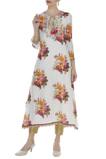 Floral kurta with mirror & zardozi work
