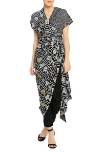 Printed wrap tunic with trouser pants