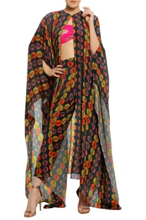 Corn stamp cape with dhoti pants & bustier