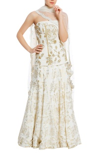 Embroidered corset blouse & lehenga with scallop border dupatta