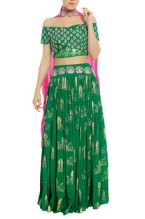 Embroidered lehenga with off shoulder blouse & dupatta
