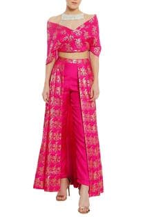 Sheer net embroidered yoke blouse with lehenga