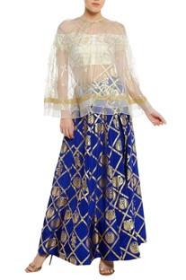 Off shoulder blouse with embrodiered cape & lehenga