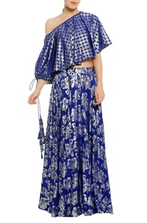 One shoulder embroidered top with skirt