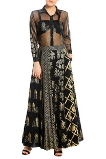 Printed & embroidered lehenga with bustier & shirt