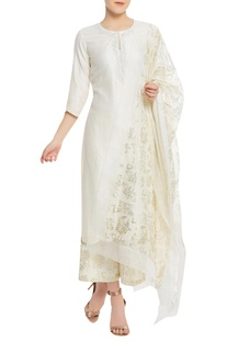 Pearl embroidered kurta with pants & dupatta.