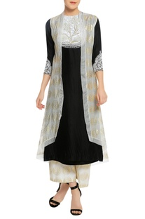 Yoke embroidered kurta with stamp work jacket & palazzo