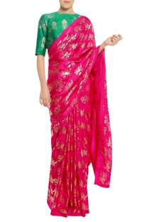 Flower stamp sari with unstitched blouse