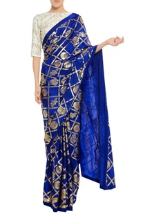 Floral stamp print sari with unstitched blouse