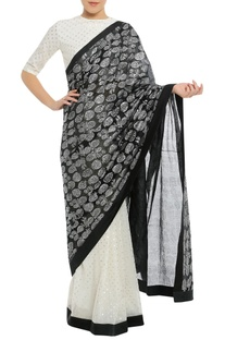 Dry pineapple stamp sari with polka dot blouse piece