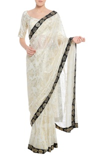 Dry flower stamp print sari with unstitched blouse