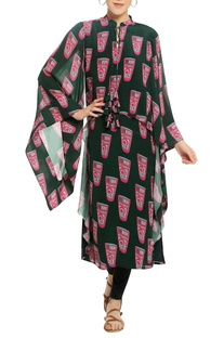 Glass print long tunic with flared sleeves