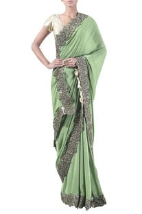 Embroidered border sari with unstitched blouse