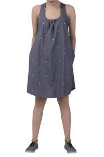 Sleeveless polka dot short dress