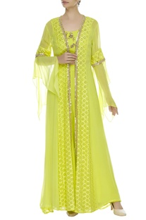 Cutdana embroidered pant with long jacket & inner