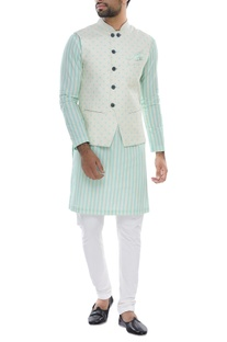 Polka dot bundi with striped kurta & churidar