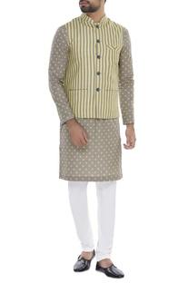 Striped bundi with polka dot kurta & churidar