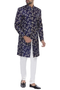 Floral Print sherwani with churidar