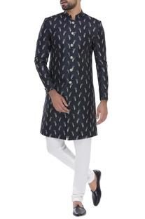 Feather Print sherwani with churidar