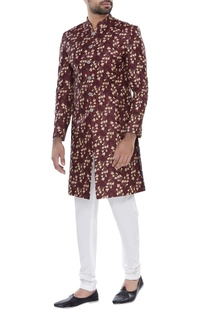 Printed sherwani with churidar