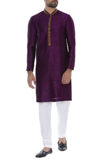 Hand embroidered kurta with churidar