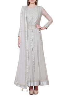 Thread embroidered anarkali kurta set