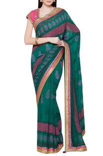Embroidered sari with contrast blouse
