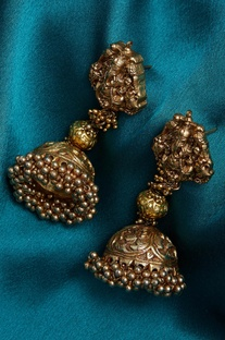 Ganpati embossed earrings with jjhumki