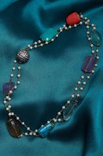 Multicoloured stone zircon necklace