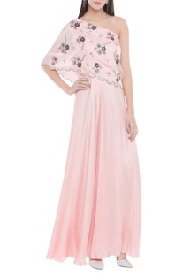 One shoulder floral cutwork gown