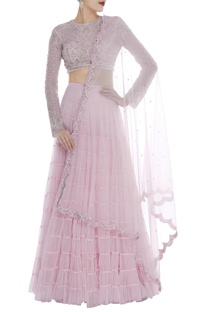 Tiered lehenga with Embroidered blouse & dupatta