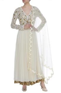 Sequin Floral Embroidered Anarkali kurta Set