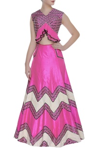 Embroidered Peplum crop Top & Lehenga Set