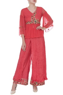 Hand embroidered tunic & draped palazzo pants