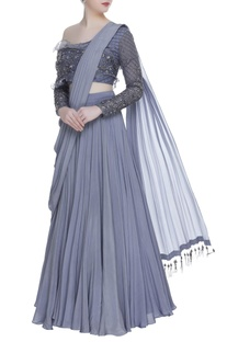 Pleated lehenga with attached dupatta and embroidered blouse
