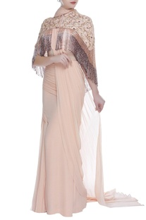 Pre-stitched draped sari with hand embroidered cape