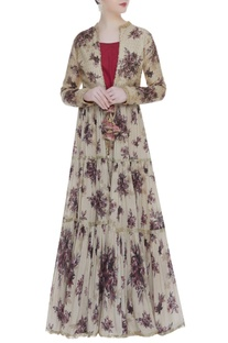 Embroidered and floral printed kurta jacket