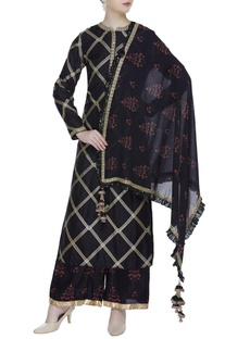 Embroidered kurta with palazzo and dupatta