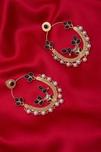 Ovate black bead earrings