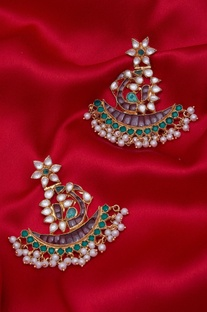 Crescent Kundan & Pearl Earrings