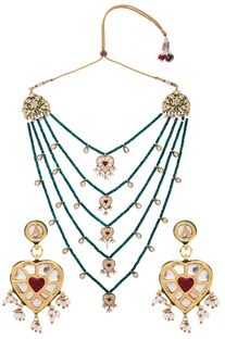 Heart Pendant Kundan Layered Necklace
