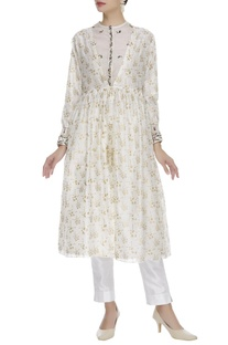 Block print tunic jacket with embroidered kurta
