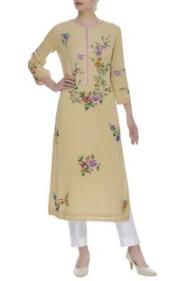 Bird Embroidered Long Kurta