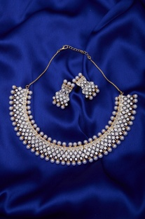 Stone & Pearl Beaded Necklace Set