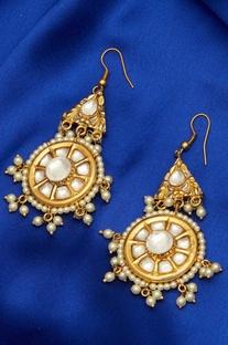 Pearl & Kundan Hoop Earrings