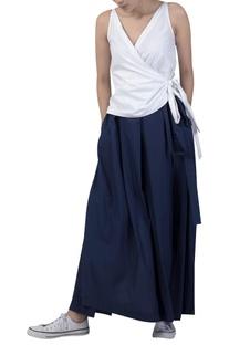 Box pleated draped pant