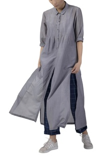 Collared cotton silk kurta