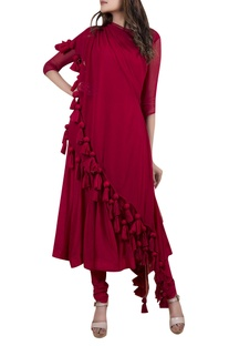 Layered draped anarkali set